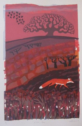 """Pink Sky Fox"" by Carry Akroyd (screenprint)"