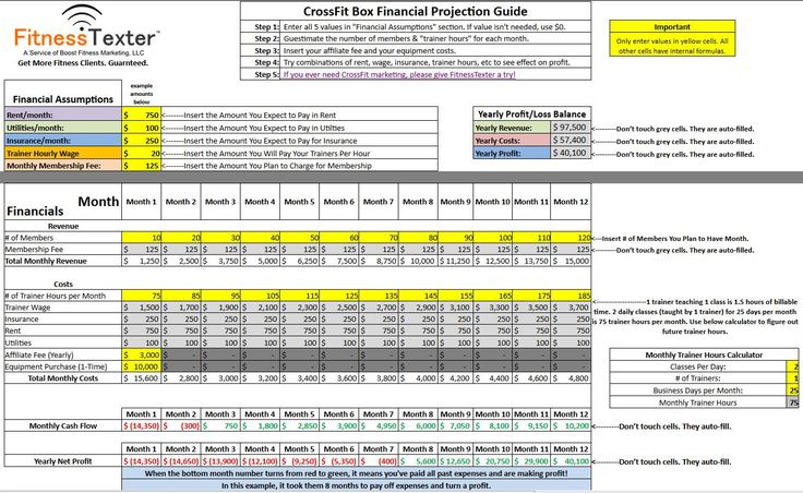 Free CrossFit Financial Projections Excel Spreadsheet