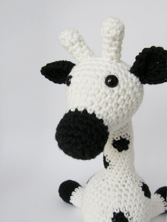 Amigurumi Giraffe Baby Toy Rattle - organic cotton - black and white - eco friendly toy