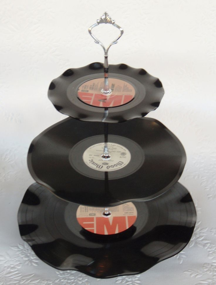Record Cup Cake Stand 3 Tier Retro Rockabilly Wedding Rock n Roll 21st Birthday. $29.00, via Etsy.