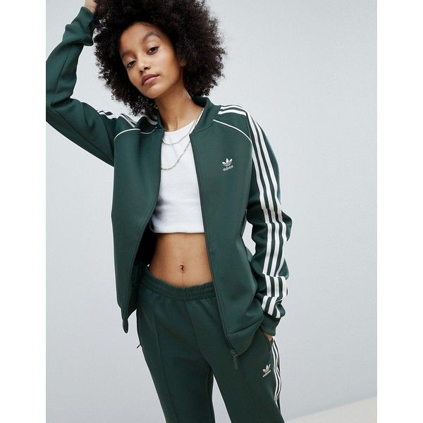 9ec1ace70f5d adidas Originals adicolor Three Stripe Track Jacket In Green ( 71) ❤ liked  on Polyvore featuring activewear