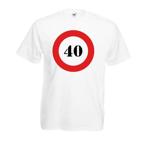 40-es táblás férfi fehér póló