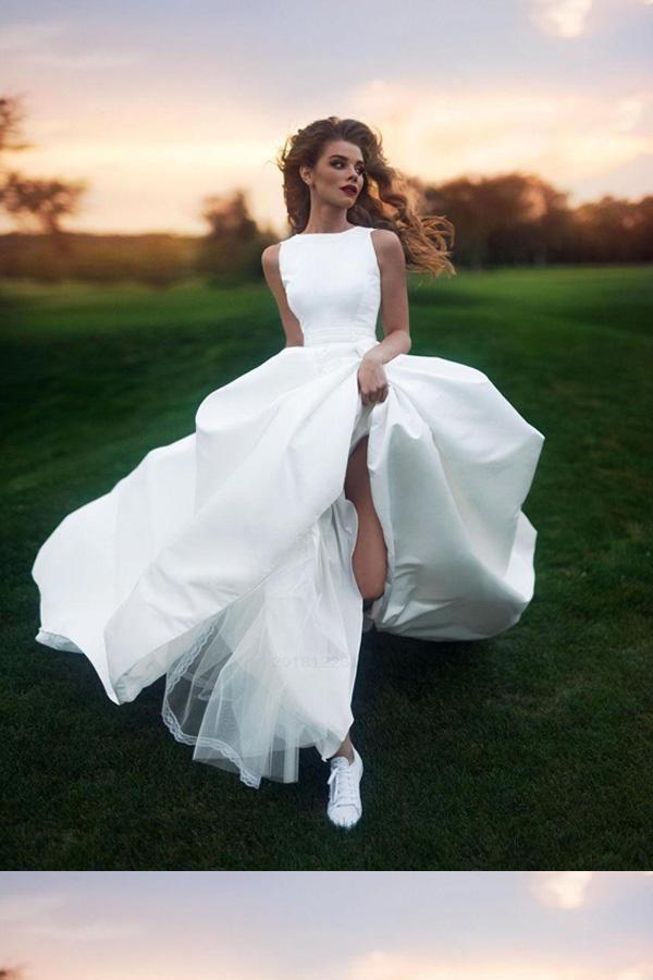 Dazzling A-Line Wedding Dress, Wedding Dress 2019, Prom Dresses For Cheap, Ivory Wedding Dress