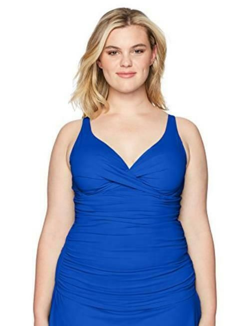 8fcb7963e43 Anne Cole Plus-Size Twist Front UW Shirred Tankini Top Blueberry 18W NWT S1  #