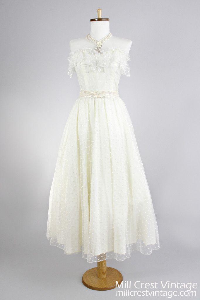 1970 dotted swiss net vintage wedding dress wedding for Dotted swiss wedding dress