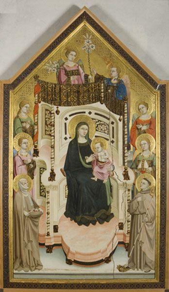 Maestro di Figline, Madonna col Bambino, angeli e i Santi Elisabetta d'Ungheria e Ludovico di Tolosa