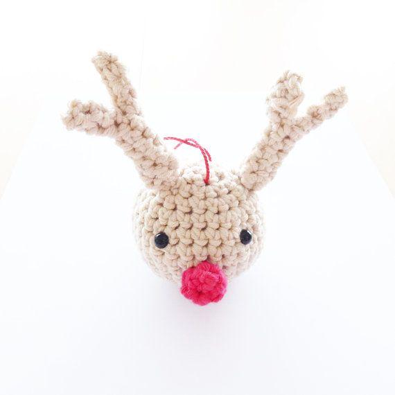 Rudolph Christmas Ball. (Crochet pattern)