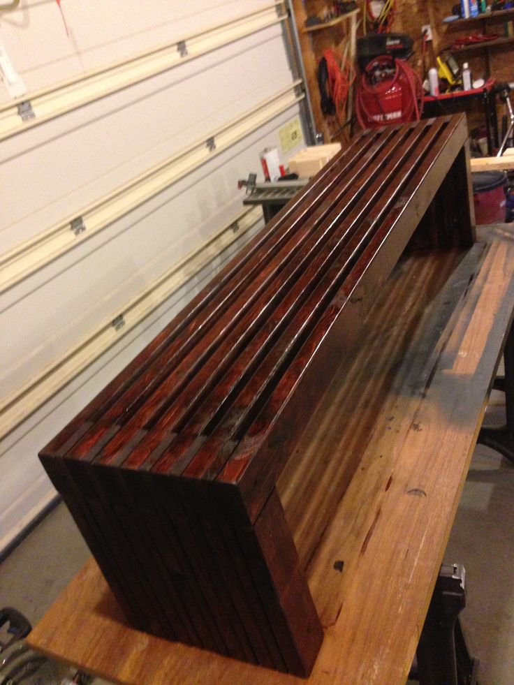 6 foot bench made from 2x4's and 1x4's. very easy project to do in an afternoon.