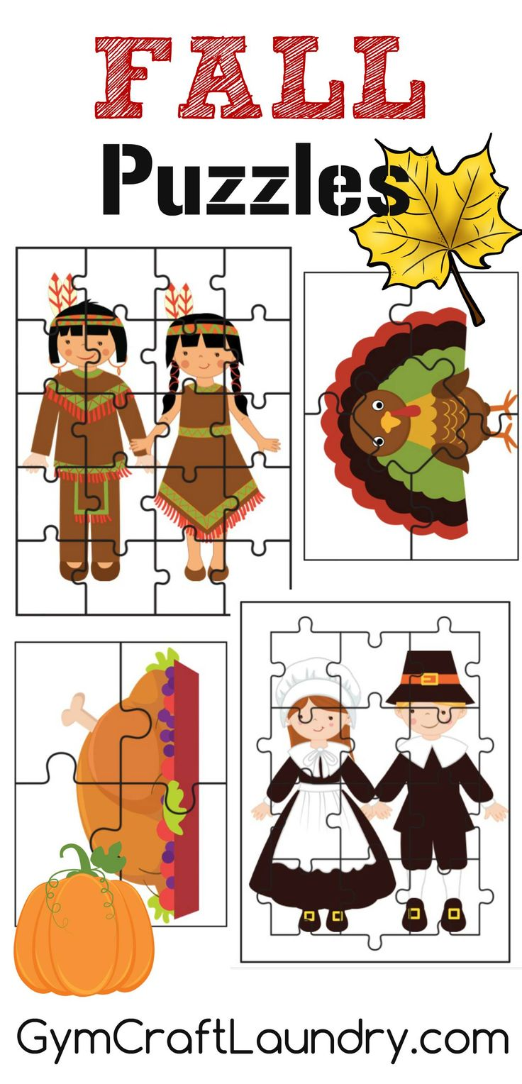 Fall and Thanksgiving themed Puzzle Activities pack for Preschoolers