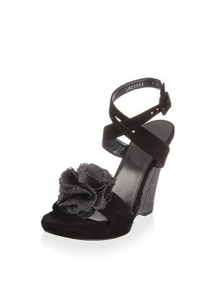 56% OFF Stuart Weitzman Women's Belflor Wedge Sandal (Black nubuck)
