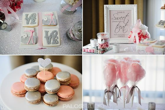 LOVE cookies in silver, macarons in pink and silver, cotton candy bagged and tied with ribbons. Anaheim Hills Golf Course Clubhouse | Images by Palos Studio