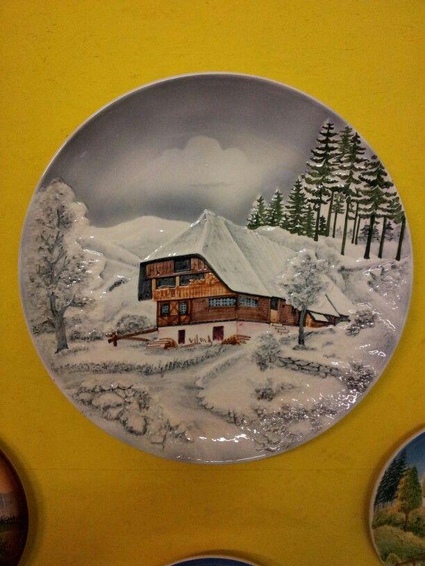 Zeller Keramik museum wandbord sneeuwidylle.