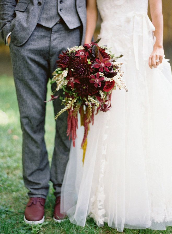 Burgundy bouquet perfection: http://www.stylemepretty.com/2013/05/23/vermont-wedding-from-jose-villa/   Photography: Jose Villa - http://josevilla.com/