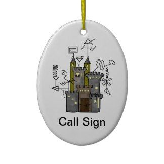 Ham Radio Shack Castle Xmas Ornament