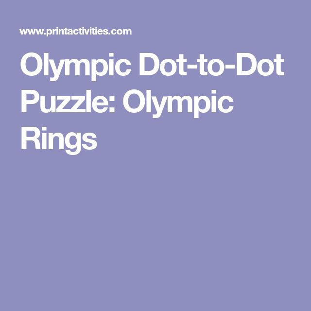 Olympic Dot-to-Dot Puzzle: Olympic Rings