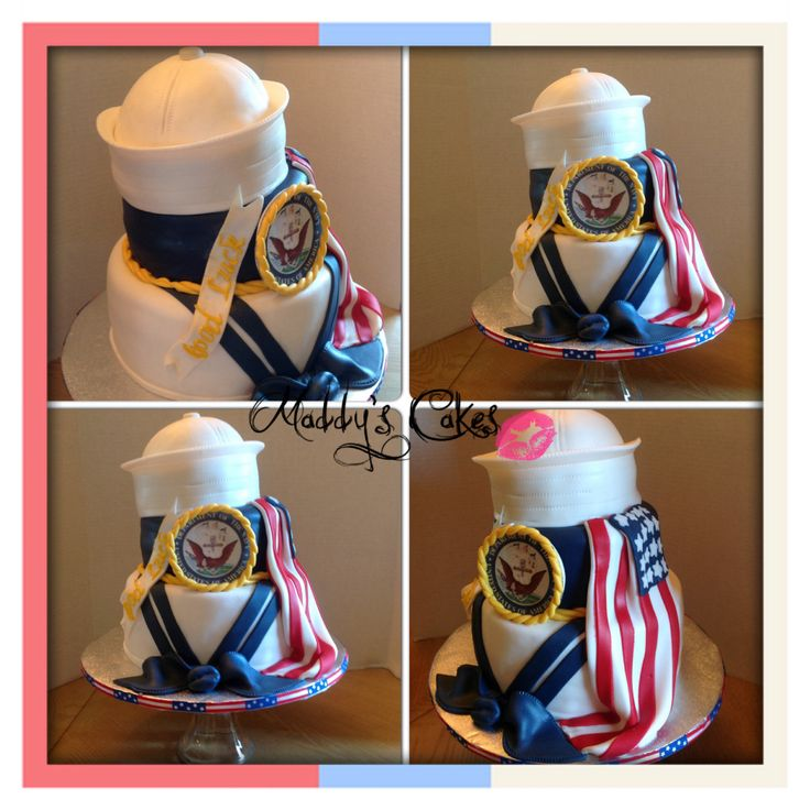 Like this idea for a U.S. Navy cake to be at my sons Graduation / US Navy Going Away party.