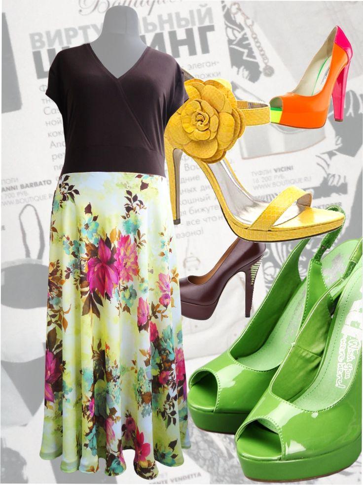 59$ Легкое шифоновое платье макси для полных женщин Артикул 423, р50-64