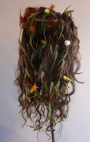 This wig was made and worn once for the Hyde Park Art Show.  It has real willow branches, a butterfly and a small bird nesting amongst  the fuzzy buds.                                                                                                                                                                                 More