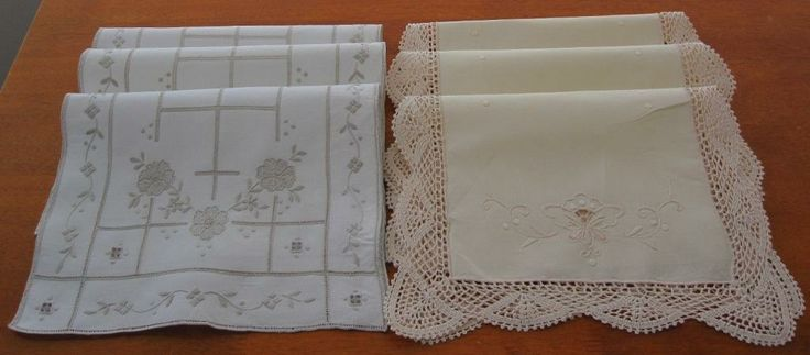 Authentic Vintage Linen Sets Italian Embroidery and Crochet in Antiques, Textiles, Linens, Lace, Crochet, Doilies | eBay SELLER ID: kathy_a1