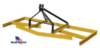 A box blade is a type of implement used on tractors for smoothing and contouring land. It can have auxiliary hydraulics attached in order for adjustments to be made without leaving the seat of the tractor. It is attached via the three point hitch.
