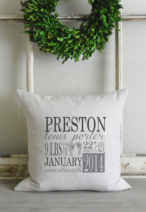 1831 best pillows pillows images on pinterest creative family personalized baby stat 20 x 20 pillow by bowsandburlapdesigns negle Image collections