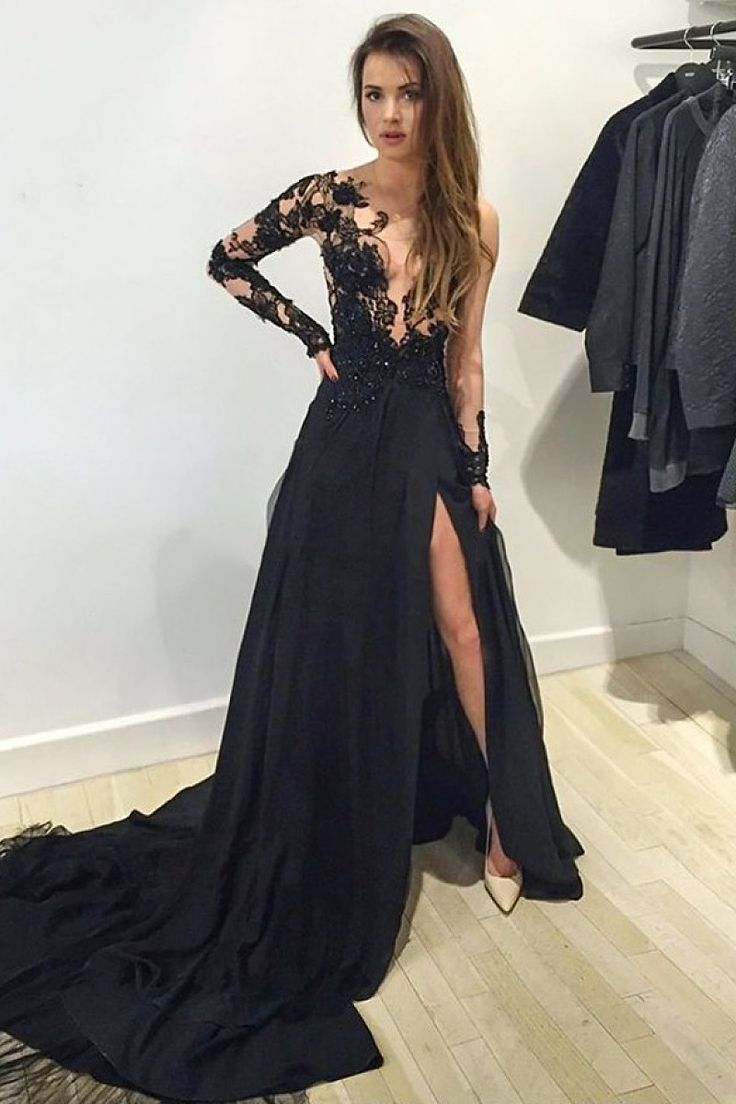Gorgeous Natural Long Sleeve Court Train Prom Dresses - by OKDress UK black prom dress,prom dress 2016