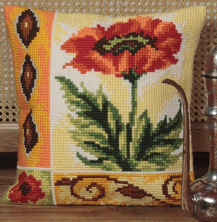 Valiant Poppy Cushion Panel Kit from Collection D'Art from £20.95