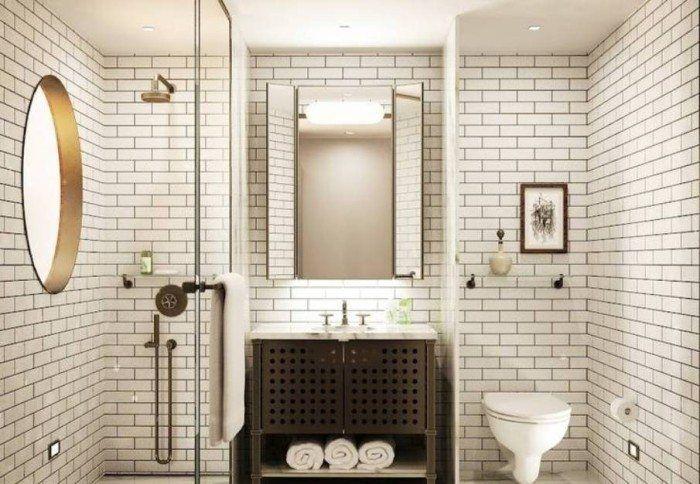 Dark Grout Subway Tile Bathroom , Ceramic Subway Tile Bathroom In Bathroom Category