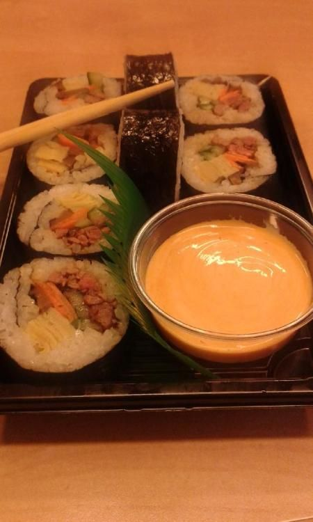 """This is Gimbap, a Korean """"sushi"""", with rice and seaweed, bulgogi, shitake, egg strips, carrot and cucumber. Delicious!"""