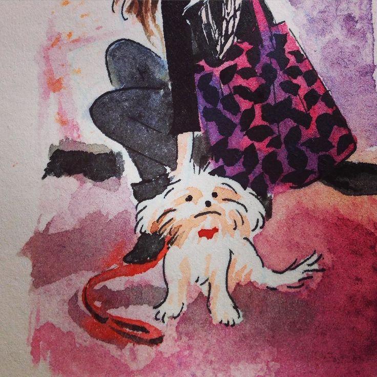 #kiki #dessin #drawing #aquarelle #watercolor #chien #dog #kawaii #mariepommepuy #kerascoet by tchoukrik_kerascoet