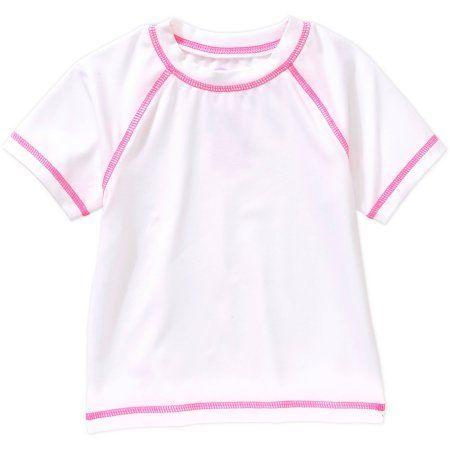 Op Baby Toddler Girl Short Sleeve Swimwear Rashguard Top, Size: 0 - 3 Months, White