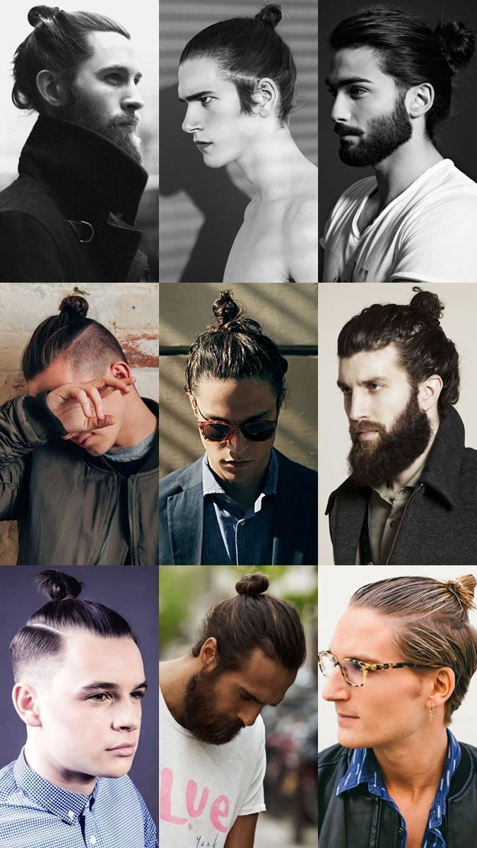 Best Haircuts for Men - Long Hair with Bun: I'm having trouble warming up to this trend. It can look sleek and great and cool, but bandwagonners can make this look tacky. It's got to fit your personality and your face. sorry guys.