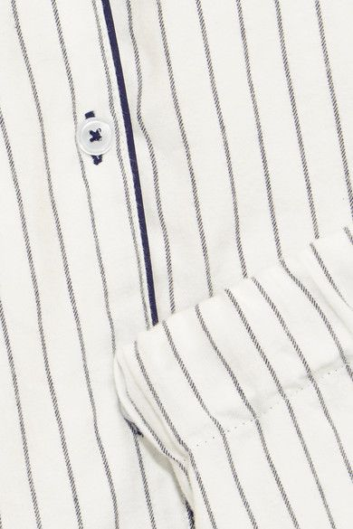Three J NYC - Phoebe Striped Cotton-flannel Pajama Set - White - x small