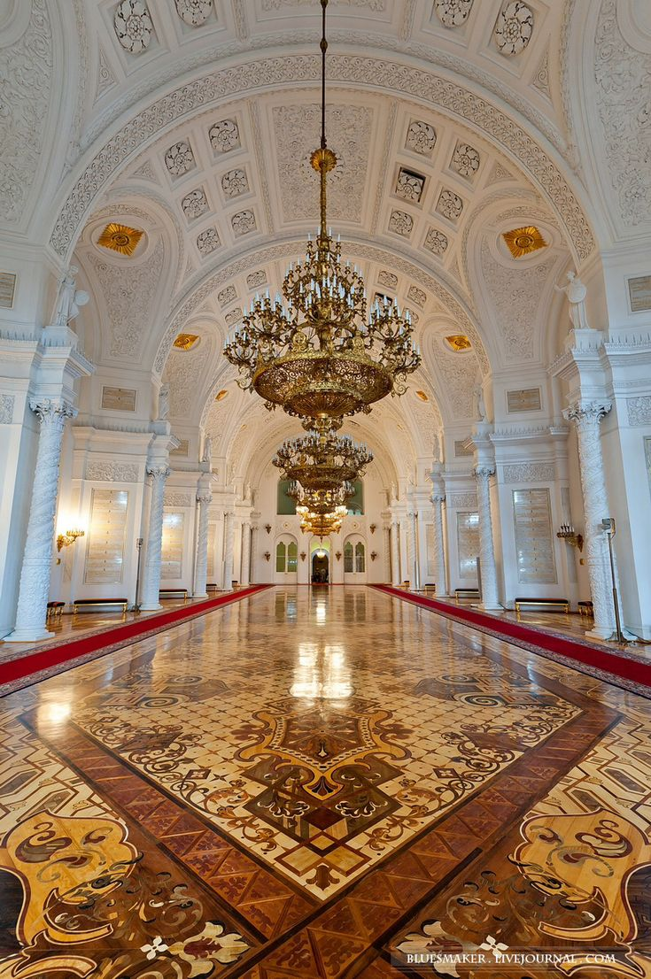 Georgian Hall of The Kremlin Grand Palace, Moscow, Russia ~ this hall is the largest between five grand halls of the Kremlin Grand Palace. It was named in the honor of Russian Order of St George, founded by Catherine II of Russia in 1760s to award soldiers and officers of the lowest level of Russian Empire. The hall is decorated by gold, crystals and 200 varieties of most precious wood.