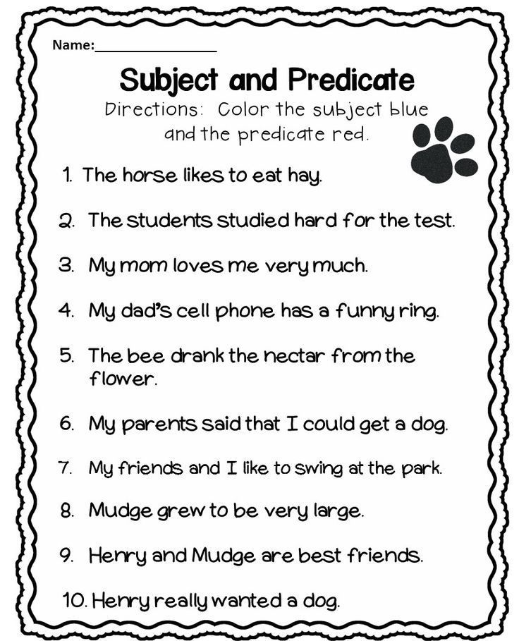 Subject and Predicate Worksheet Subject and predicate