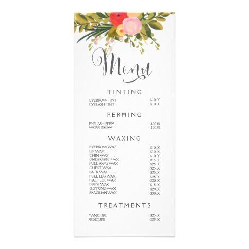 Hair Nail Salon Beautician Menu Floral Price List Rack Card Design