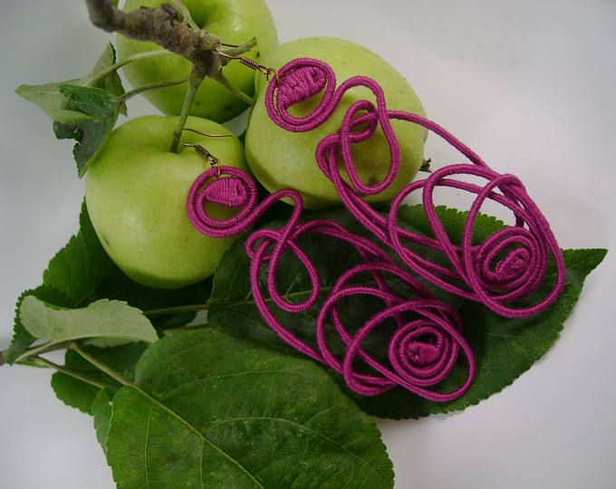 Purple Sunset yarn-wrapped earrings/ purple/ cotton yarns/ thread-wrapped/ handmade/