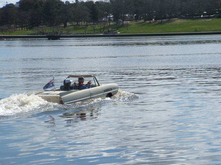 Amphicar in the lake.