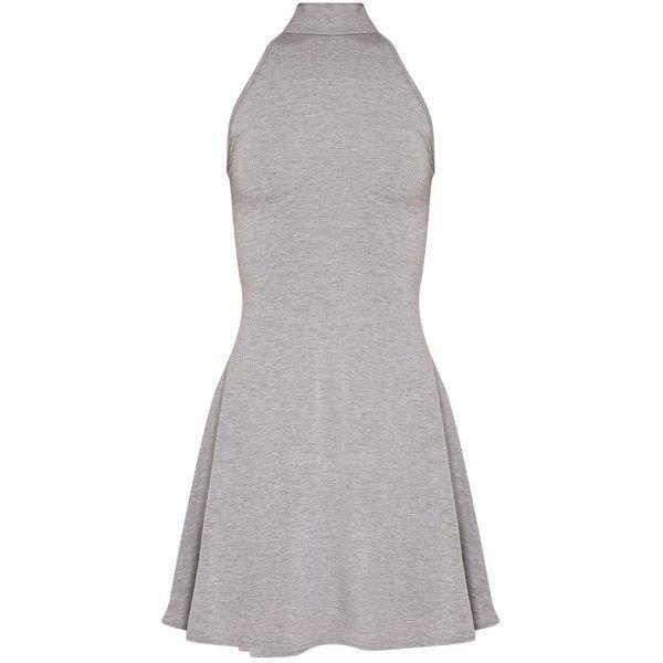 Basic Black High Neck Jersey Skater Dress ($8.24) ❤ liked on Polyvore featuring dresses, high neckline dress, high-neck dress, jersey knit dress, jersey dress and skater dresses