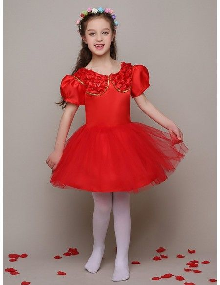 2c6e3ce92cb2 Hot Red Satin Sequin Collar Flower Girl Dress with Short Puffy ...