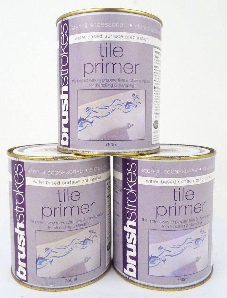 3 x Brushstrokes White Tile Paint Primer - Stencil - 750ml (2.25L)
