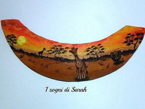 african landscape,necklace in polymer clay. paesaggio africano,tramonto con giraffa e elefante,realizzato interamente in pasta polimerica