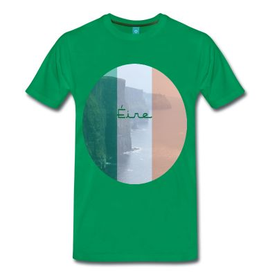 An image of the cliffs of Moher within thetri-colour and some of the Irish language thrown in too... Just to make this wonderful unique t shirt some what more Irish