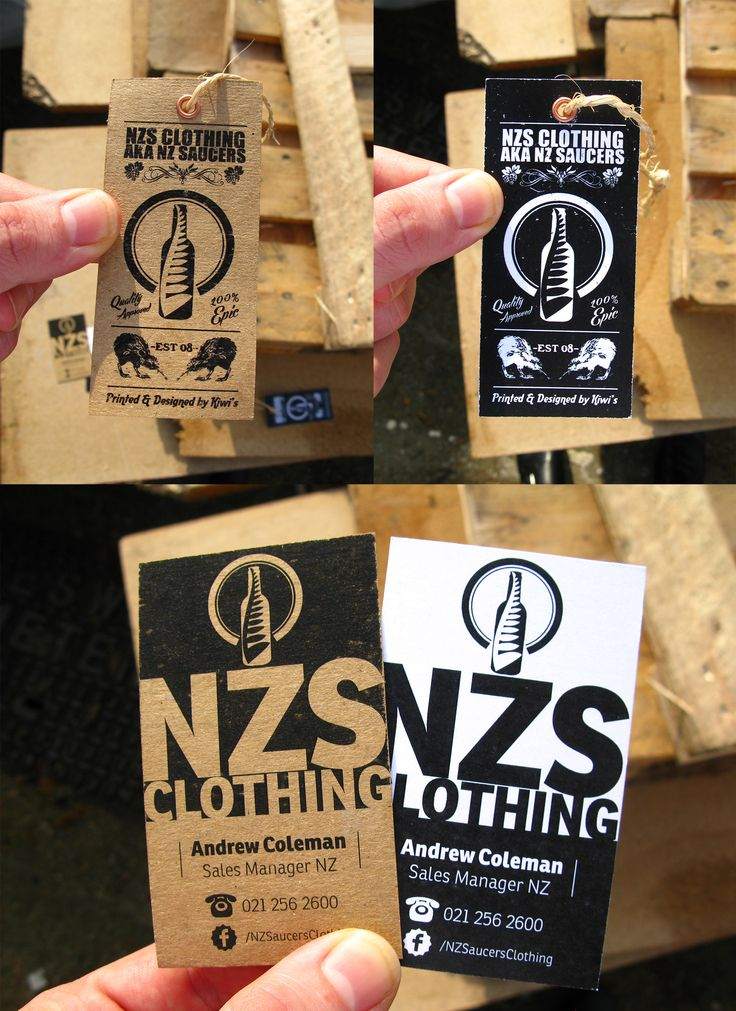 NZS Clothing Hangtags and Business Cards. Rustic style and fresh! #GraphicDesign