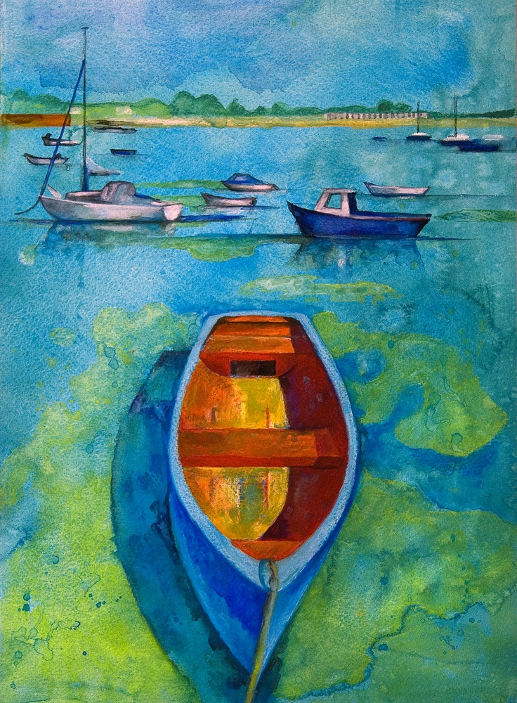 The red blue boat (Emsworth) watercolour painting by Isabel Hutchison, exhibitor at the Arts Trail