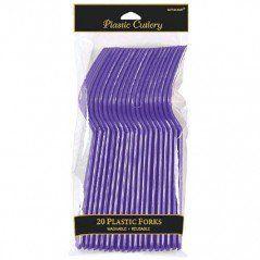 Purple Plastic Forks (20 Pack)