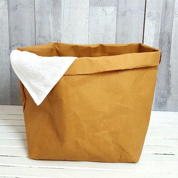 NATURAL PAPER HAMPER Small Laundry Bag Storage Organizer Kids Toys Box Waterproof Container Holder Handmade Fabric Gift Birthday