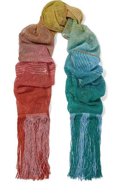 Missoni - Fringed Metallic Crochet-knit Scarf - Blue - one size