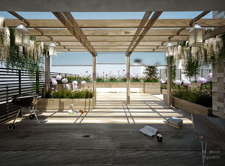 pergola, rooftop terrace by W Moim Ogrodzie modern terrace, modern garden design