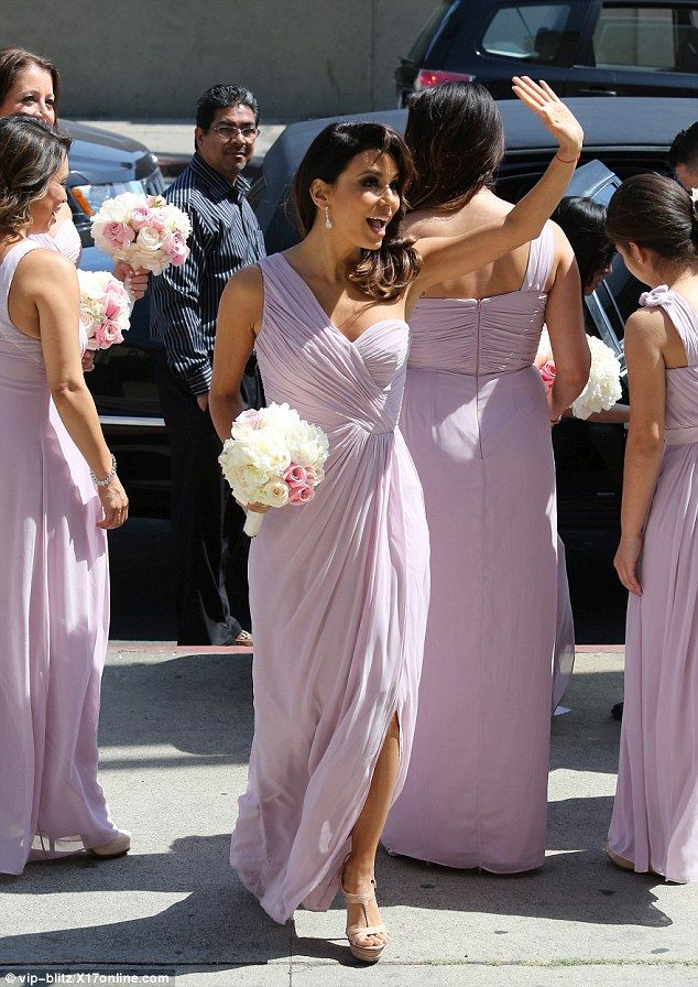 Bridesmaid Eva Longoria looks stunning in a purple Grecian gown #dailymail